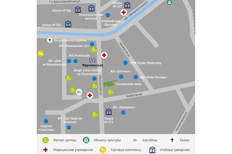 Карта части Фрунзенского района Санкт-Петербурга