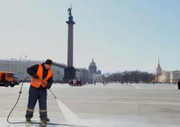 уборка на Дворцовой площади