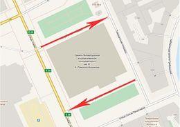 Одностороннее движение вводится с 5 марта по боковым проездам у Консерватории
