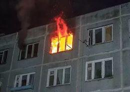 В поселке Понтонный тушили пожар в квартире