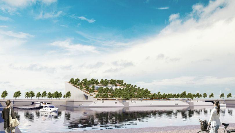 террасный парк с библиотекой русского авангарда в устье реки Смоленки
