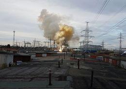 В Петербурге тушили пожар на подстанции «Западная»