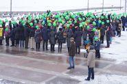 В Приморском районе прошел митинг в защиту парка 300-летия Петербурга