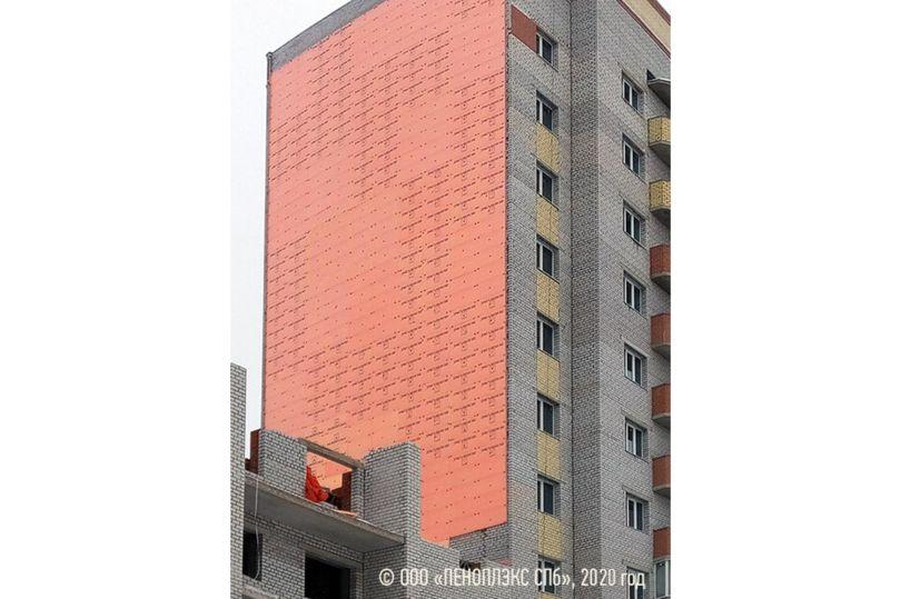 Заполнение деформационного шва теплоизоляцией ПЕНОПЛЭКС®, жилой дом на ул. Фрязиновской, Вологда
