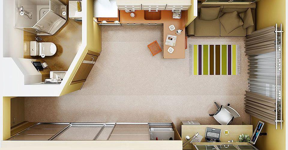 Квартира-студия 18 кв.м фото интерьер и планировка кухни